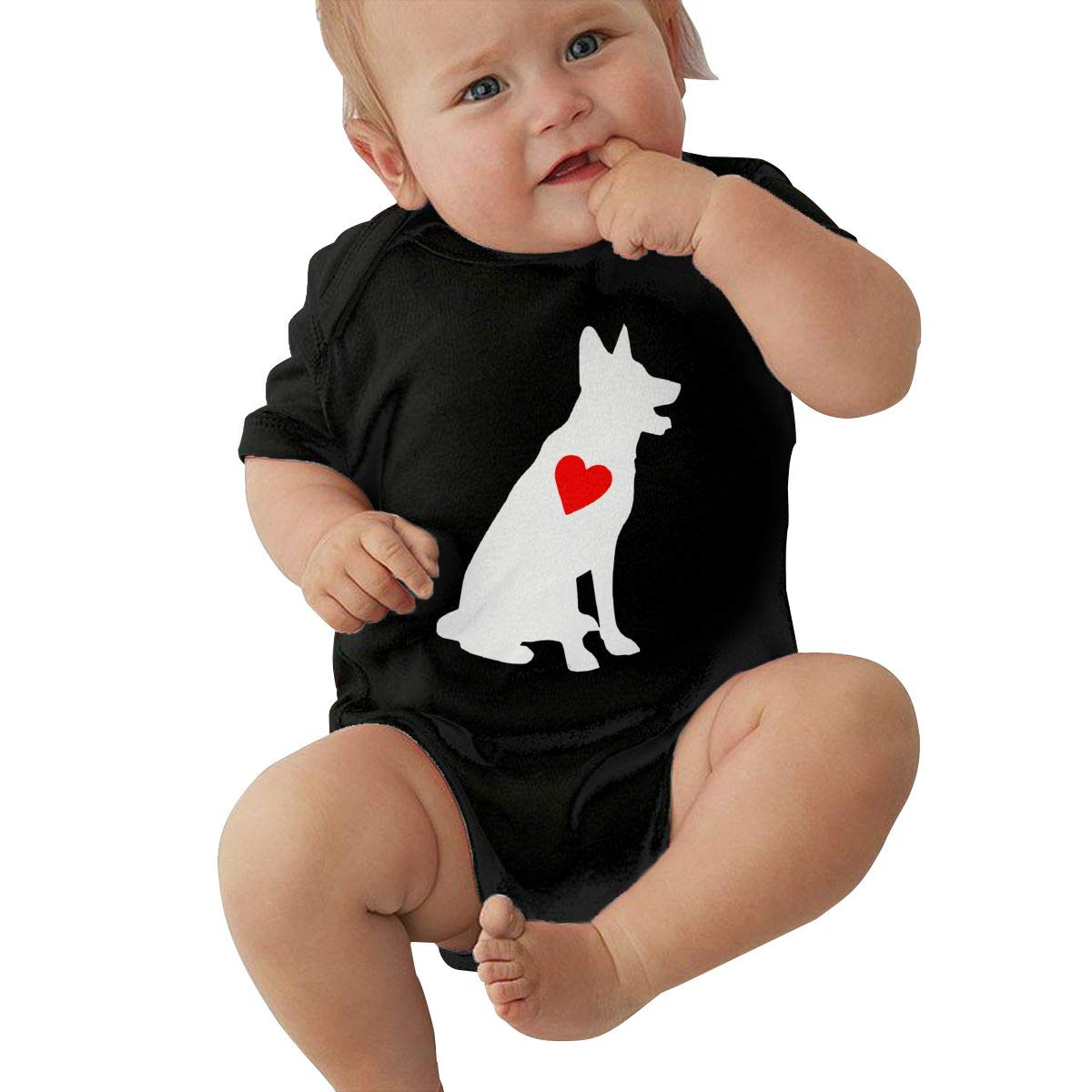 JJKKFG-H German Shepherd with Heart Printed Summer Baby Boys /& Girls Short Sleeve Bodysuit Jumpsuit Outfits Shirt
