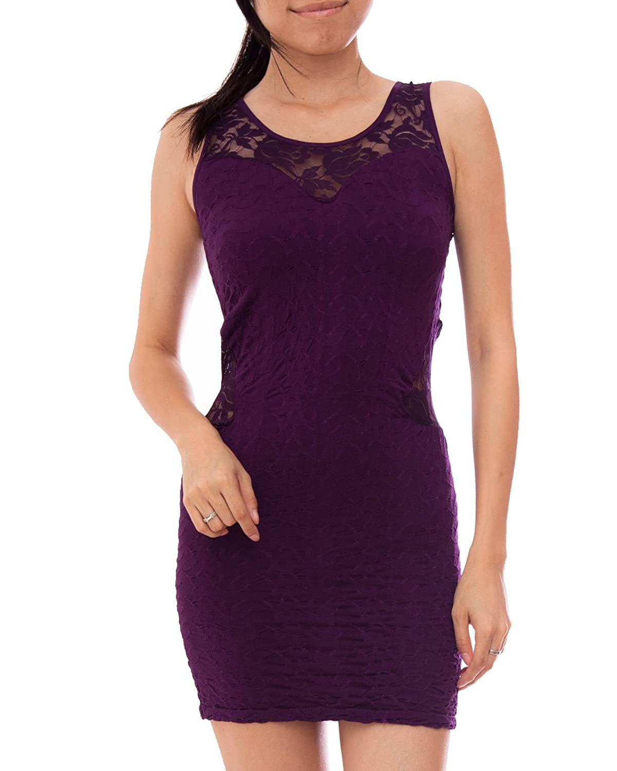 Purple Tank Dress Floral Laced Neck Back and Sides, Decorative Stitching
