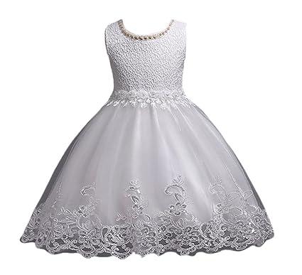 NiSeng Vestito per Bambini Fiore Principessa Vestito Pizzo Abito da Sposa  Partito Comunione Compleanno Festivo Paillettes Vestito  Amazon.it   Abbigliamento b2609a9925d