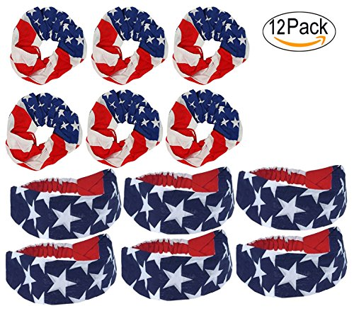 Women Hair Scrunchies and Headband USA American Flag Multi Pack