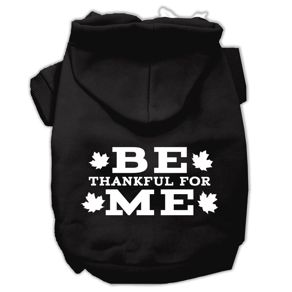 Mirage Pet Products Be Thankful for Me Screen Print Pet Hoodies Black, X-Small by Mirage Pet Products