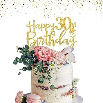 JeVenis del brillo del oro Feliz 30 cumpleaños de la torta ...