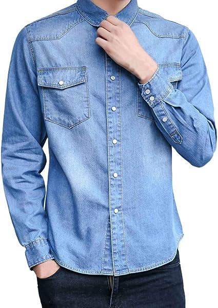 Sencillo Vida Camisa Vaquera Desgastada Hombre Manga Larga Slim Fit Camisas de Hombre de Vestir Casual Camisa Hombres Clásico Cuello de Solapa con Botones Camiseta Shirts: Amazon.es: Ropa y accesorios