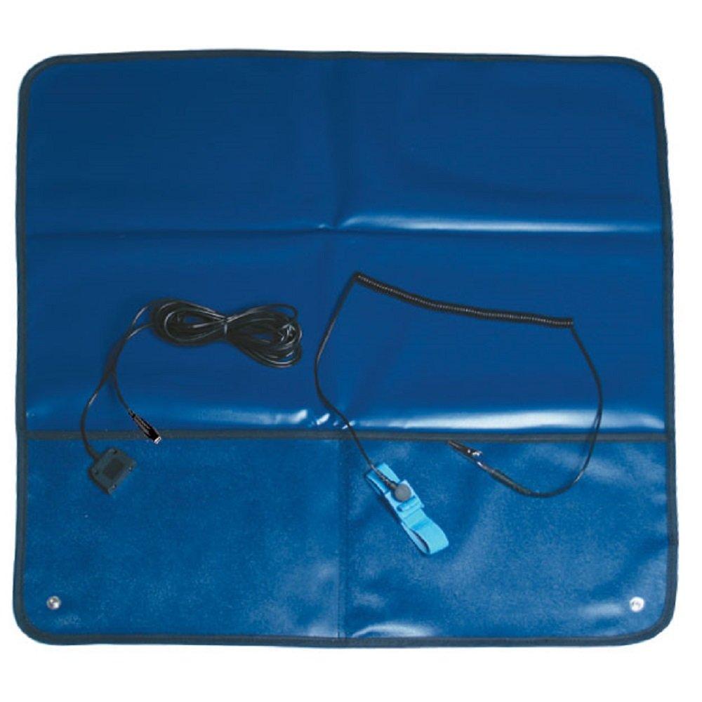 Blue StaticTek ESD Grounding Kit TT/_FSM2424B 2X2 Wrist Band Set Anti-Static Field Service Mat with 2pcs Male 10mm Snaps Bulldog Ground Cord