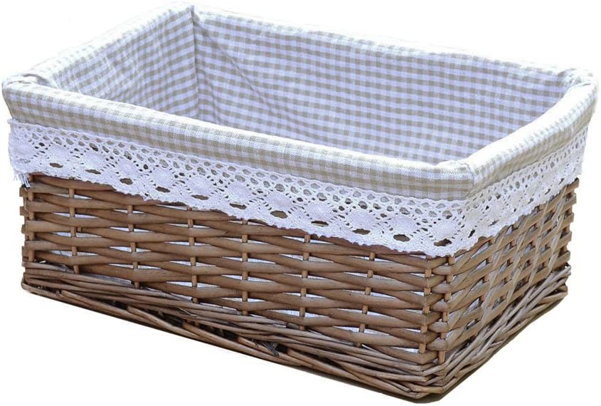 Rurality Wicker Storage Basket with Grid Liner,Rectangle,Coffee Colour,Large