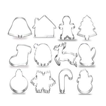 Cortadores de galletas para niños de acero inoxidable con forma de cortador de galletas de Navidad, moldes de chocolate, juego de 12: Amazon.es: Hogar