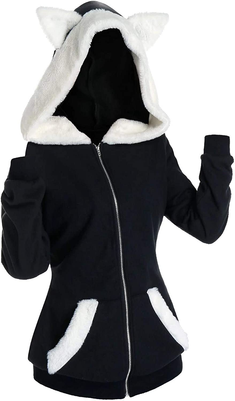 Women Lady Winter Warm Long Hooded Zipper Jackets Coats Slim Hoodie Outwear Top