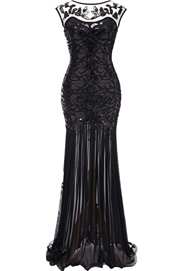 Huifany Vintage Sequin Mermaid Evening Dresses For Women Formal Maxi