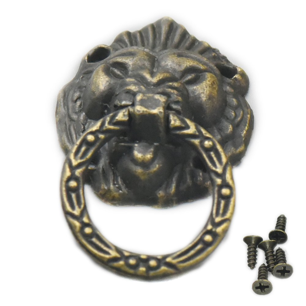 Fujiyuan 5 pcs Cabinet Wooden Drawer Ring DIY Jewelry Box Vintage Lion Head Furniture 50mm x 28mm Door Pull Handle Knob with Screws Gold