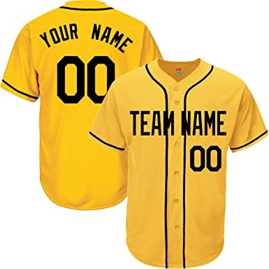 a230b4603ea Yellow Custom Baseball Jersey for Men Button Down Embroidered Team Player  Name   Numbers