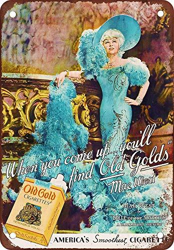 Bidesign 16 x 12 Metal Sign - Vintage Look Mae West for Old Gold Cigarettes