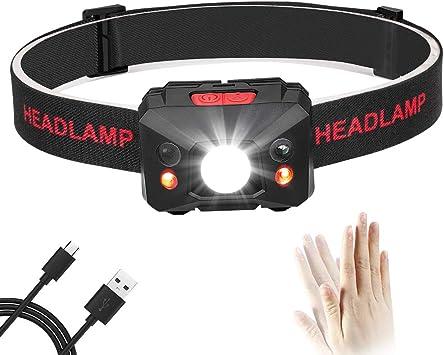 Correr Eletorot USB Recargable Linterna Frontal LED Linterna de cabeza Luz Frontal Lamp/ára de Cabeza,5 Modos de luz,Ligera El/ástica Deporte nocturno para Ciclismo