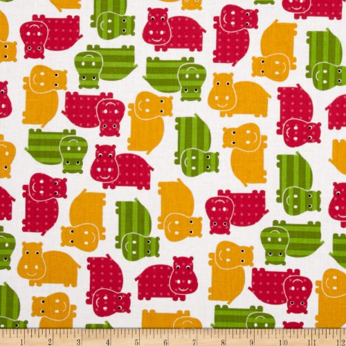 Robert Kaufman Urban Zoologie Hippos Spring Fabric by The ()