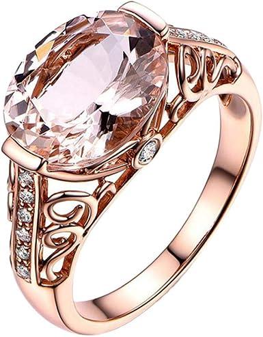 Aunimeifly Popular Rose Gold Zircon Diamond Band Womens Engagement Ring Anniversary Wedding Ring