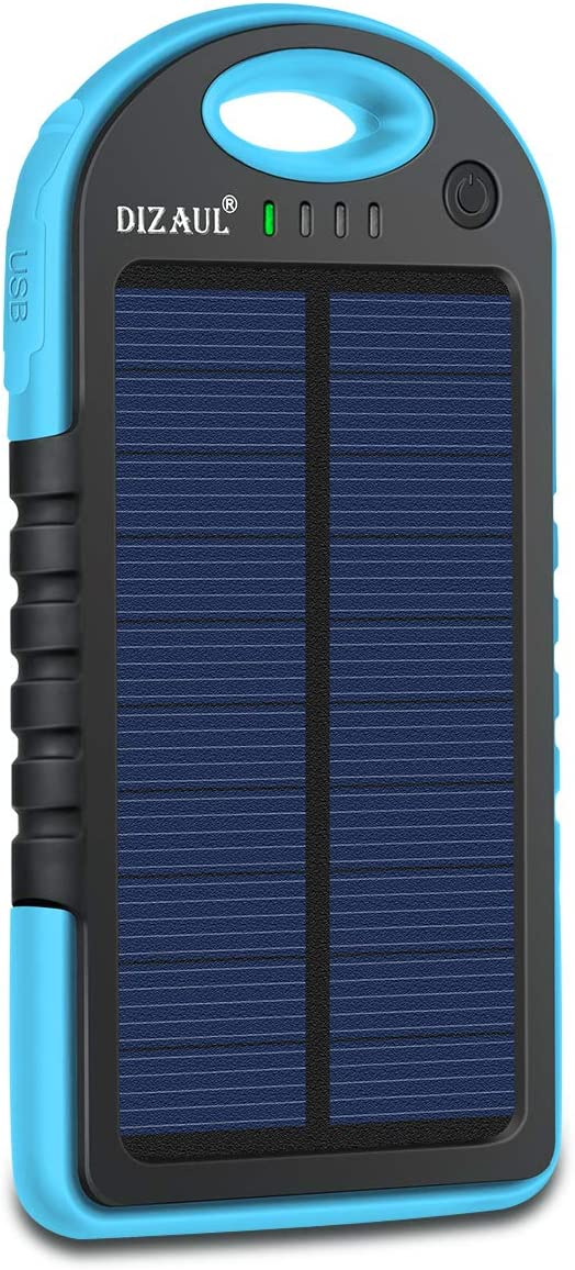 Dizaul Solar Charger, 5000mAh Portable Solar Power Bank Waterproof/Shockproof/Dustproof Dual USB Battery Bank Compatible with All Smartphones,iPhone,Samsung,Android Phones,Windows Phones,GoPro,GPS: Garden & Outdoor