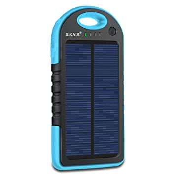 Dizaul Solar Charger, 5000mAh Portable Solar Power Bank Waterproof/Shockproof/Dustproof Dual USB Battery Bank for Cell Phone,iPhone,Samsung,Android ...