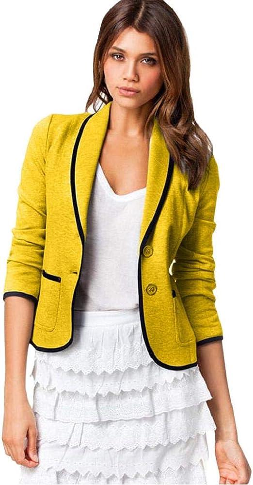 Luckycat Mujeres Blazer Elegante Oficina Traje de Chaqueta Outwear Mujeres Elegante Fiesta Chica Casual Blazers la Peque/ña