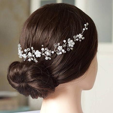 Handmadejewelrylady da sposa cristallo STRASS fascia per capelli Vine donne  fiore copricapo sera party accessori per a10d06b2aad6