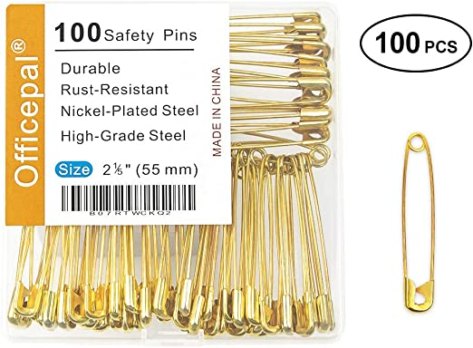 5 x 55mm Small Size Safety Pins Heavy Duty Nickle Plated Fashion Sewing Crafts