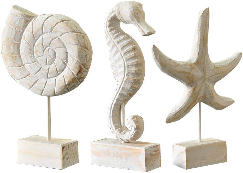 Exttlliy 3pcs Wood Handmade Beach Nautical Style Figurines Starfish/Conch/Seahorse Statue Home Decor
