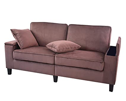 Redde Boo Microfiber Fabric Sofa Living Room 3 Seater With Arm  Storages,Cushion Cover Washable