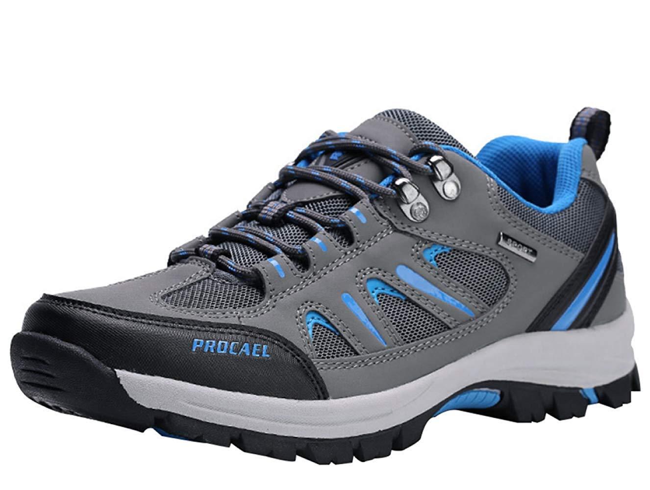 HhGold Männer Wanderschuhe Stiefel Leder Wanderschuhe Turnschuhe Für Outdoor Trekking Training Beiläufige Arbeit (Farbe : 2, Größe : 43EU)