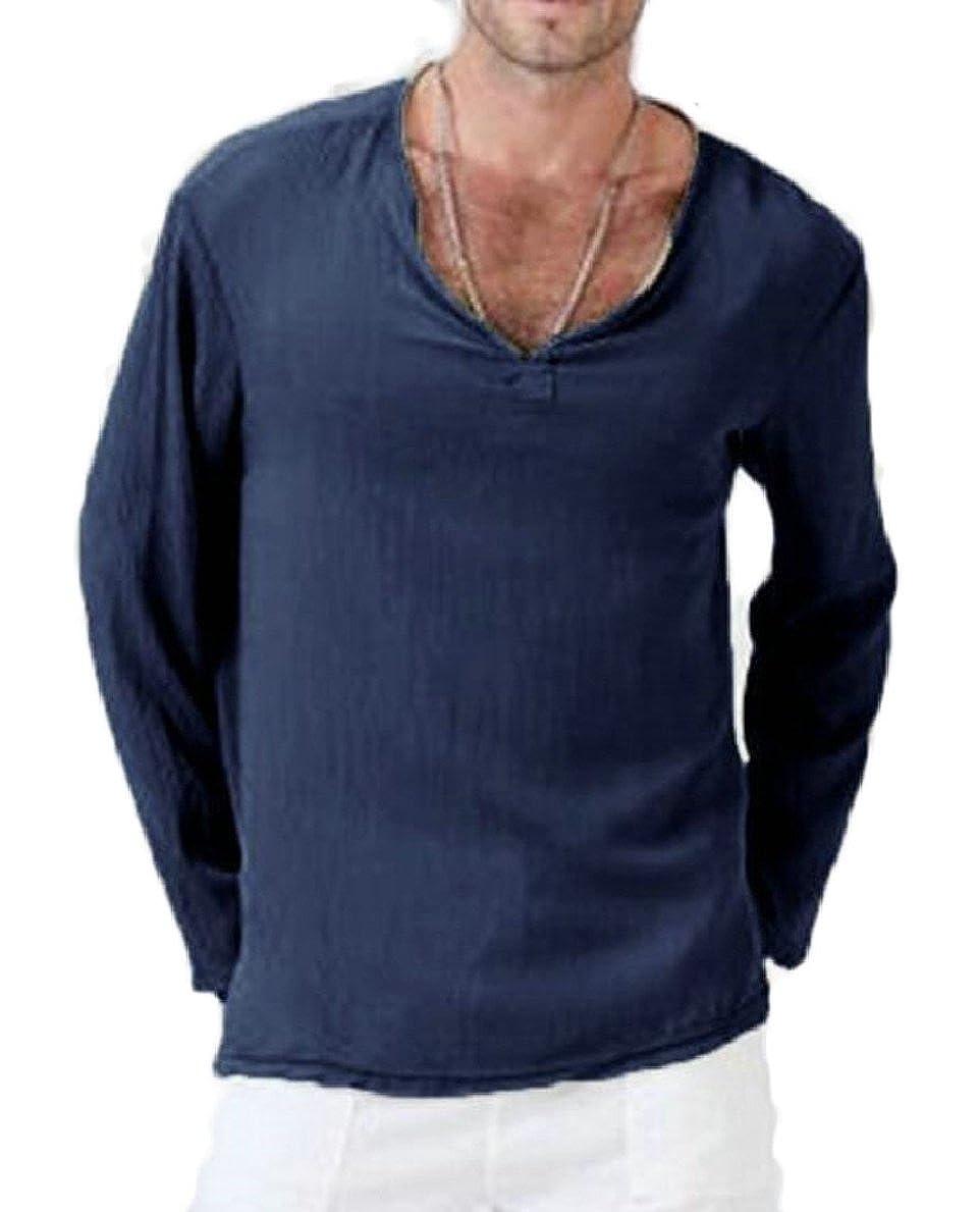 Men Hippie V Neck Cotton Linen Shirt Long Sleeve Beach Yoga Top xiaohuoban