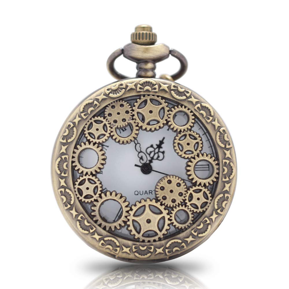1 x Vintage Pocket Watch with Chains Necklace Steampunk Gear Hollow Quartz Pocket Watches for Men Women Xmas Birthday Gift Present