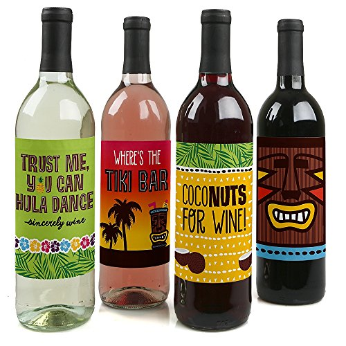 Tiki Luau - Tropical Hawaiian Summer Party Decorations for Women and Men - Wine Bottle Label Stickers - Set of 4 -