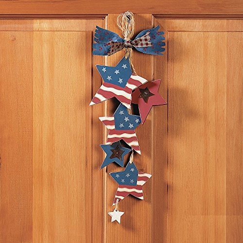 Wooden Star Flag Door Hangers (3 Pack) 4th of July Independence Day