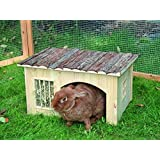"""B&P Large,Natural Wood Bunny House With HayRack, 17x13.8x10.6"""", Removable, Easy to clean,for Rabbit,Dutch pigs,Chinchilla Small Animal Hutch"""