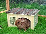 B&P Large,Natural Wood Bunny House With HayRack, 17x13.8x10.6