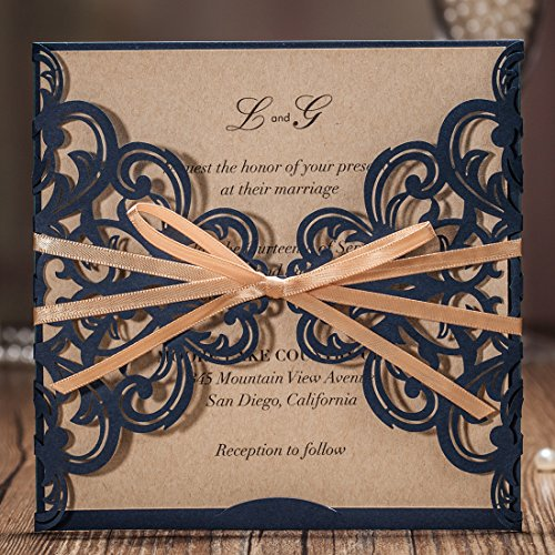 Wishmade Navy Blue Rustic Square Laser Cut Wedding Invitations Cards with Bow Lace Sleeve Cards for Engagement Baby Shower Birthday Quinceanera (pack of (Rustic Wedding Invitation Kits)