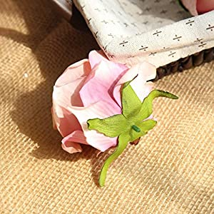"Artificial Fake Flowers Silk 4"" 2.2"" Big Roses Heads Flower Arrangements Real Touch Flannel Wedding Decorations Floral Table Centerpieces for Home Kitchen Garden Party Décor (10 PCS, Pink) 5"