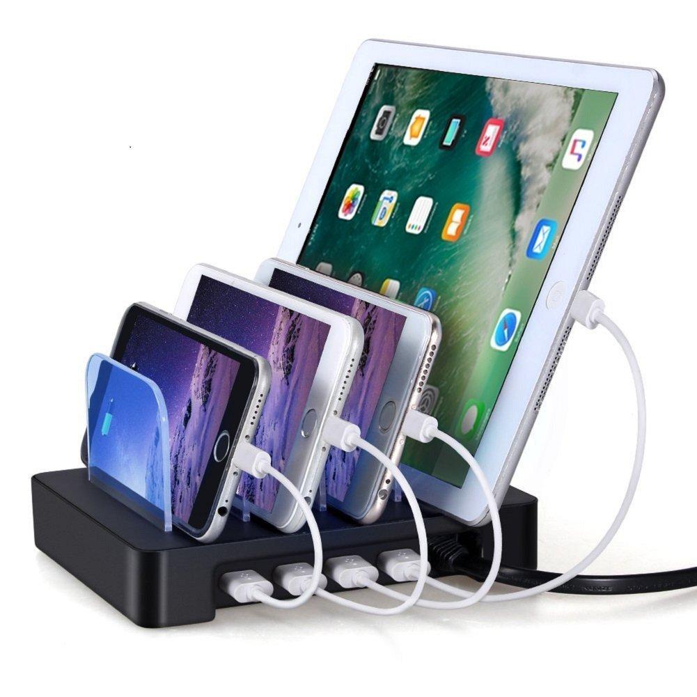 4 Ports USB Charging Station, Universal Detachable Multi-port Desktop Charge Dock Stand Multiple Devices USB Charging Station Organizer, Quick Charger for iPhone iPad Samsung LG Tablet PC-Black