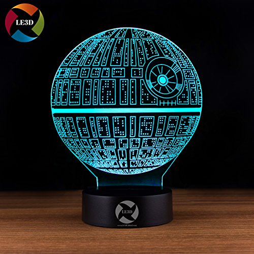 3D Optical Illusion Night Light - 7 LED Color Changing Lamp - Cool Soft Light Safe For Kids - Solution For Nightmares - Star Wars Death Star