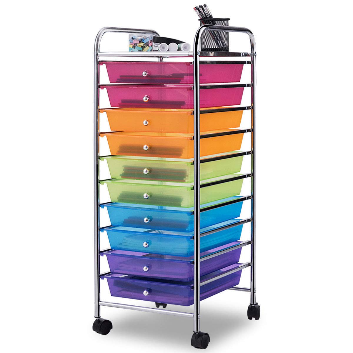 Giantex 10 Drawer Rolling Storage Cart Scrapbook Paper Office School Organizer (Multicolor) by Giantex