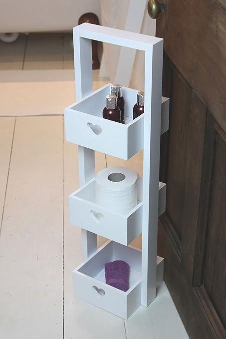 Wooden Three Tier White Free Standing Bathroom Storage Caddy: Amazon ...