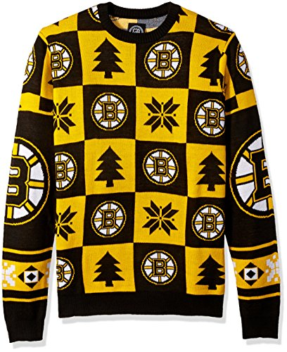 NHL Boston Bruins Unisex Patches Ugly Crew Neck Sweater – Herren Extra Groß, X-Large