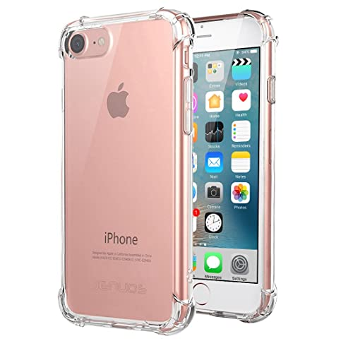"iPhone 8 Case, iPhone 7 Case, Jenuos Silicon Clear Shockproof Case Cover for iPhone 7 and iPhone 8 4.7"", Transparent Soft TPU Bumper- Clear (7G-TPU-CL)"