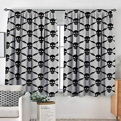 All of better Gothic Window Curtain Drape Halloween Horror Theme Spooky Black Skulls Checkered Pattern with Skeleton Bones Decor Curtains by 72