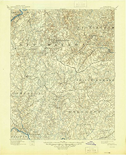 YellowMaps Appomattox VA topo map, 1:125000 Scale, 30 X 30 Minute, Historical, 1892, Updated 1945, 20.8 x 17 in - Polypropylene ()