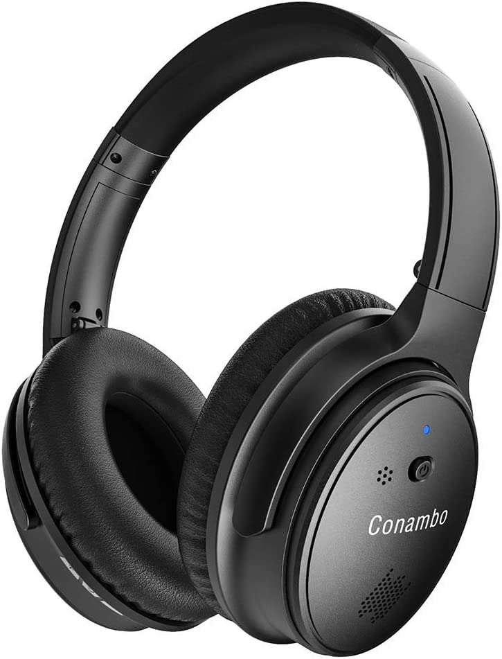 Active Noise Cancelling Headphones, Conambo Wireless Bluetooth Headphones with CVC 6.0 Mic Over Ear Fordable for Travel Work TV PC Cellphone - CQ8