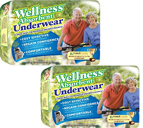 (Set/2) Wellness Super Absorbent Underwear Manage Incontinence - LG,32 Count