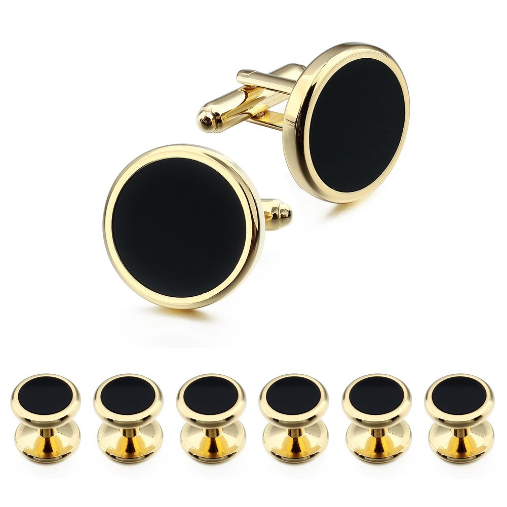 HAWSON Gold Cufflinks and Tuxedo Studs Set for Mens Wedding Business