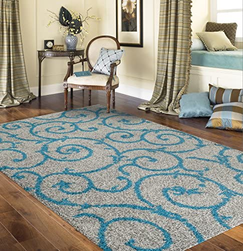 "Cozy Contemporary Scroll Turquoise Gray 7'10"" X 10' Indoor Shag Area Rug"
