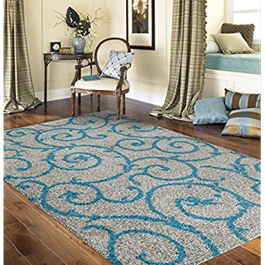 Soft Cozy Contemporary Scroll Turquoise Gray 3'3  X 5' Indoor Shag Area Rug