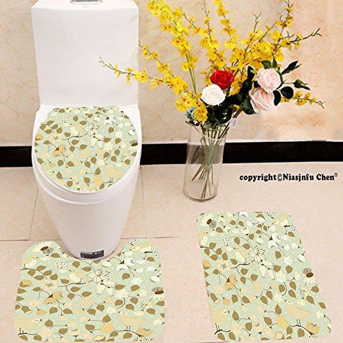 Niasjnfu Chen three-piece toilet seat pad customFloral Vintage Retro Swirls Ivy Flowers Birds Symbol of Romantic Era Pistachio Green Khaki and White