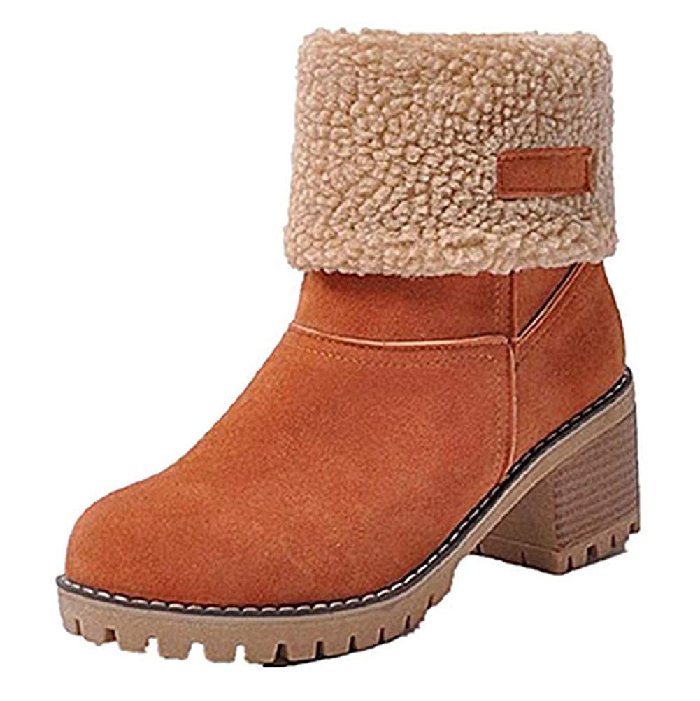 Ankle Booties Snow Boots Ladies Round Toe Suede Chunky mid Heel Faux Fur Lined Winter Warm Outdoor Martin Shoes