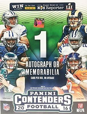 2016 Panini Contenders NFL Football Factory Sealed Retail Box with Autograph or Memorabilia Card Look for Rookies & Autographs of Ezekiel Elliott Dak Prescott Carson Wentz